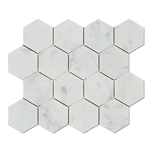 Column Marble Italian - Carrara White Italian Carrera Marble Hexagon Mosaic Tile 3 inch Honed