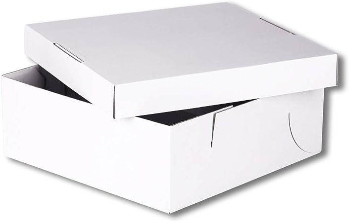 Weiß 25-100 Stück Kuchenkarton Tortenkarton 42x42x12cm mit Fenster aus Pappe