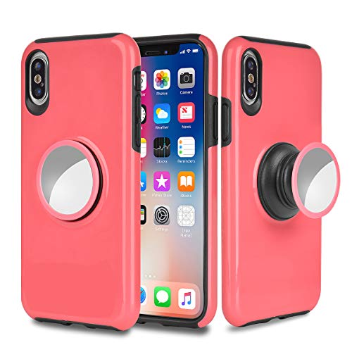 (iPhone Xs/X/10 Case,MISSCASE Slim Shockproof Drop Protection 2 in 1 Hybrid Hard PC Covers Soft Rubber Bumper Protective Case with Kickstand [Fit Car Mount] for iPhone Xs/X/10 2018 5.8 inch Red)