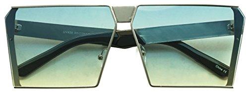 Oversized Thick Metal Square Women Sleek Retro Oceanic Bright Color Tinted Lens Sunglasses (Silver | Blue, - Sunglasses Light Tint