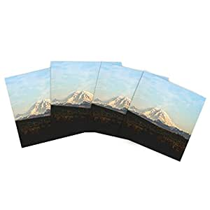 "Kess InHouse Sylvia Cook ""Mt. Rainier"" Mountain Photo Outdoor Place Mat, 15 by 15-Inch, Set of 4"