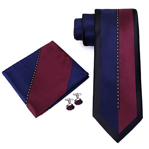Twenty Dollar Tie Men's Lucky Tie Pocket Square Cuff-links Set (Burgundy)