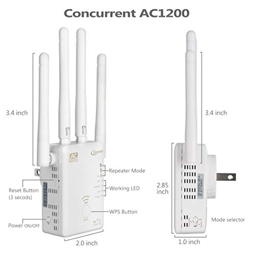Qoosea WiFi Extender Repeater/AP / Router AC1200 Dual Band Wireless Signal Range Booster with 4 External 3dBi Antennas Compatible with Smart Home & Alexa Devices, White by Bobstore (Image #7)