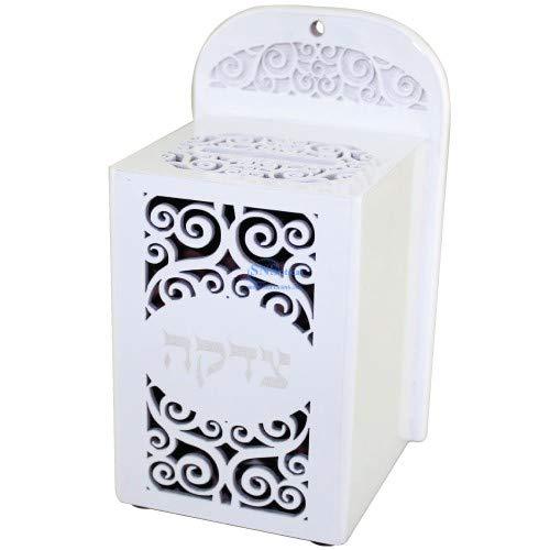 SNSArts-Judaica-Beautiful-Wooden-Tzedakah-Box-17cm-White