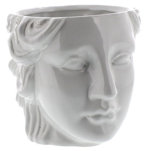 MY SWANKY HOME Grecian Ceramic Head Vase Female | Woman Flower Cache Pot Sculpture Classical