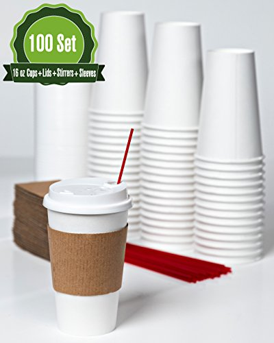 16oz- 100 Sets White Paper Coffee Cups with Lids, Sleeves, and Stirrers -