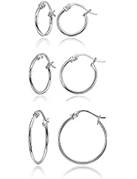 Sterling Silver Small High Polished Round Thin Lightweight Unisex Click-Top Hoop Earrings, Choose a Size & Metal