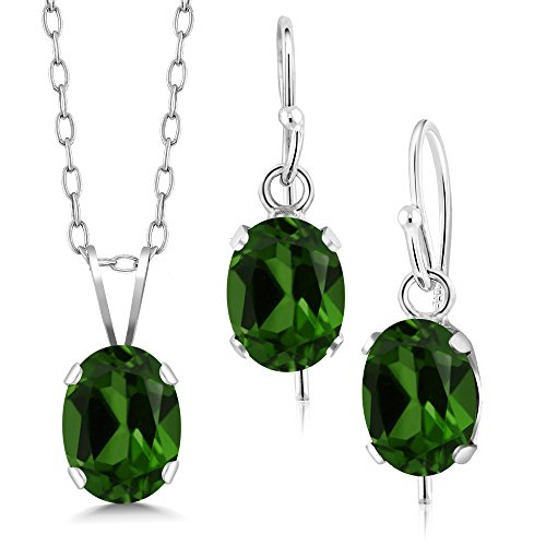 - Gem Stone King 2.40 Ct Green Chrome Diopside 925 Silver Pendant Earrings Set With Chain