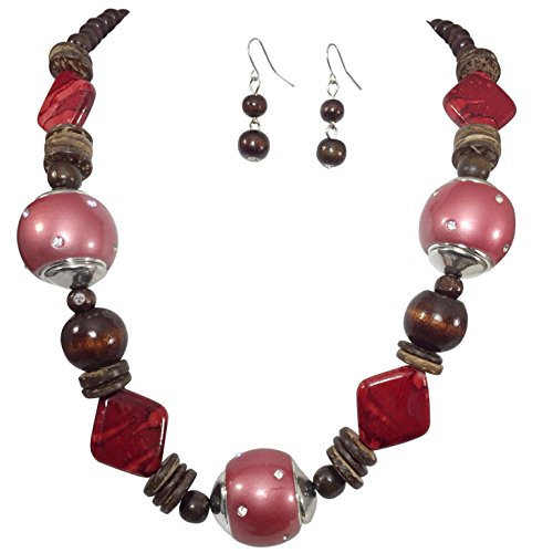 Chunky Wood & Resin Beads with Rhinestones Unique Statement Necklace & Earrings Set (Red)