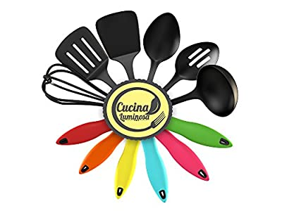 Cucina Luminosa Kitchen Utensil Set - Kitchen Starter Set - These Nylon Cooking Tools Won't Scratch Your Non-Stick Kitchenware - Colorful With Comfort Grips and Self-Supporting - Protect Your Countertops