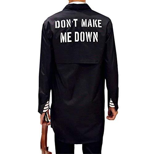 Cappotto Cappotto Fit Capispalla Manica Coat T Uomo Ntel Da Da Trench Lungo Slim Stampa Da Uomo Shirt Casual Lunga Top Schwarz 8FHan8Rxqw