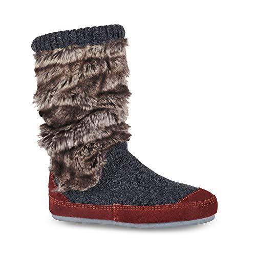 (ACORN Women's Slouch Boot Slipper, charcoal faux fur, X-Large )