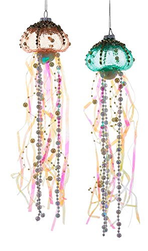 Coastal Beaded Jellyfish Glass and Ribbons Christmas Holiday Ornaments Set of 2]()