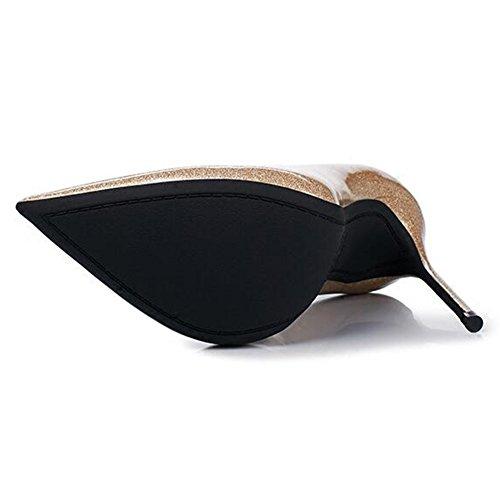 Yixiny Pumps G0212 Individuel Kvinde Sko Kvalitet Pu + Tpr Pegede Flad Mund Tynd Hæl 10 / 12cm Højhælede Sko Guld (farve: 12cm, Højde: Eu37 / Uk4.5-5 / Cn37) 10cm