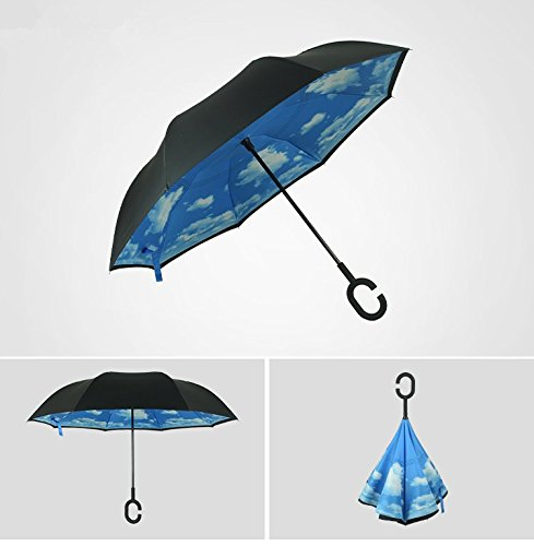 urtoysブルースカイDouble Layer Inverted傘C型ハンドルReverseリバース折りたたみ傘防風UV保護ストレート雨傘レディースメンズ子供の子供ギフト   B072HKPTVW