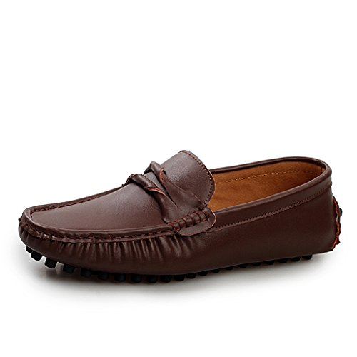 Boat Slim Loafers Comfortable Stripe Leather On Shoes Slip TDA Men's Brown Driving Hwz1q0XS