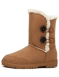 Womens Twin Button Fully Fur Lined Waterproof Winter Snow...