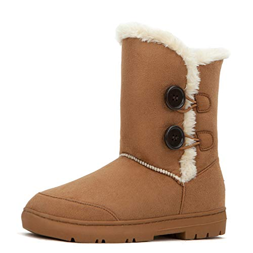 Lined Faux Fur Boots - CLPP'LI women snow boots Button Fully Fur Lined Waterproof Winter Snow Boots-Tan-8