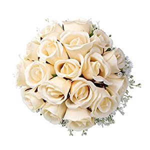 Mikilon Artificial Flowers Rose Bouquet, Fake Flowers Silk Plastic Artificial Roses with Gypsophila Bridal Wedding Bouquet for Home Garden Party Wedding Decoration 16