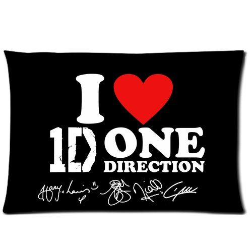 Artsy Artistic I Love 1D One Direction Custom Zippered Pillowcase Pillow Cases Cover 20x30 (Twin sides)