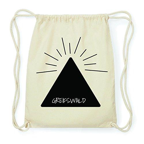 JOllify GREIFSWALD Hipster Turnbeutel Tasche Rucksack aus Baumwolle - Farbe: natur Design: Pyramide tPQRFG