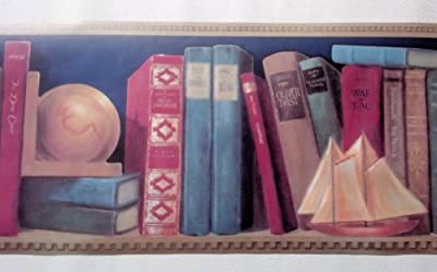 Wallpaper Border Classic Library Books Book Shelf Border