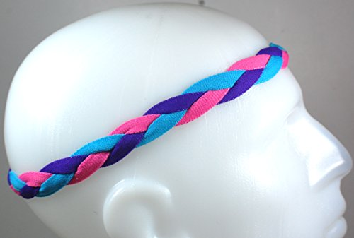 NEW! Pink Purple Light Blue - Non Slip Braided Sports Mini (3 Pack Mini Headbands)