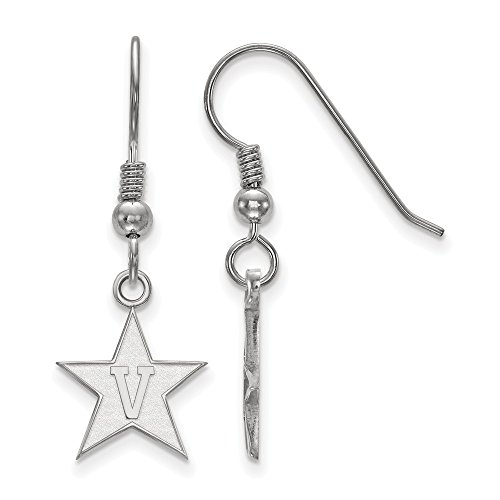 925 Sterling Silver Officially Licensed Vanderbilt University College Small Dangle Wire Earrings (13 mm x 12 mm) by Mia's Collection