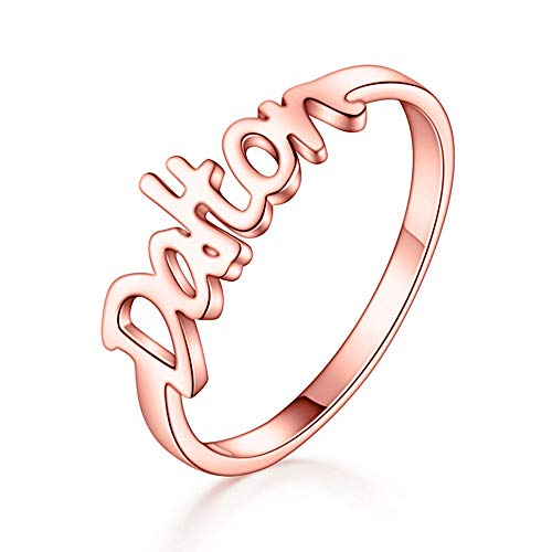 MANZHEN Personalized Custom Name Rings for Couple Lover 3 Tone (Rose Gold)