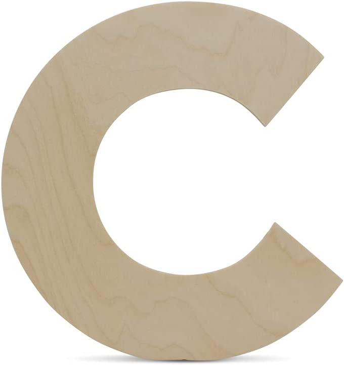 Wooden Letters - C - Unfinished 12 x 11 Inch Decorative Craft Monogram for Wedding Parties and Home Décor with Tool Free Adhesive Foam Squares for Hanging - by Woodpeckers