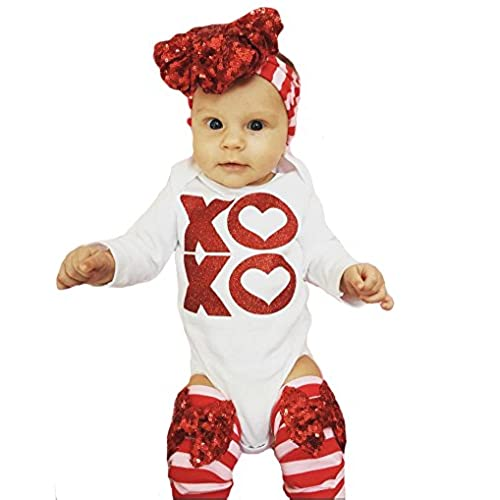 emmababy baby christmas outfit newborn girls white romper leg warmers bow headband 3pcs winter clothes set 0 3months white