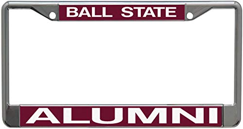Ball State University Alumni Premium License Plate Frame, Chrome with 2 Mount Holes