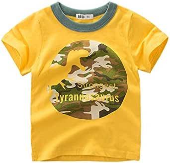 PinkLu Niño Amarillo Dinosaurio Camuflaje Manga Corta Estampada Bebé Niño Primavera Verano cómodo Ropa: Amazon.es: Ropa y accesorios