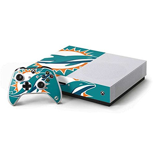 Skinit NFL Miami Dolphins Xbox One S Console and Controller Bundle Skin - Miami Dolphins Large Logo Design - Ultra Thin, Lightweight Vinyl Decal Protection
