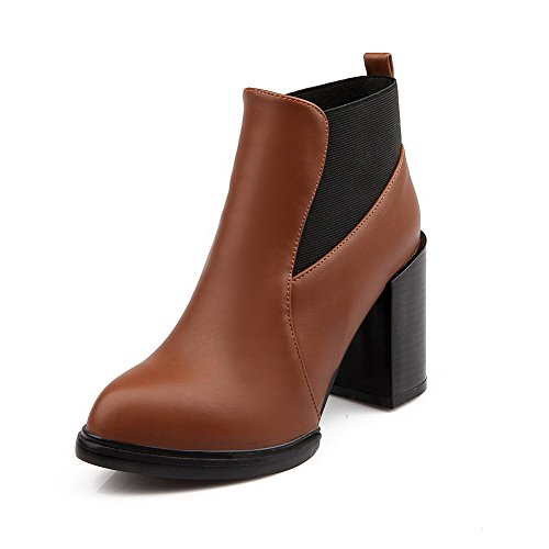 AgooLar Women's Round Closed Toe High-Heels Soft Material Ankle-high Solid Boots Brown FaemE2s1