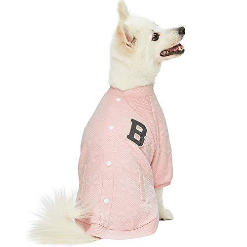 Blueberry Pet 2019 New Soft & Comfy Baseball Fans Favorite Floral Jacquard Pullover Dog Sweatshirt in Pink, Back Length 22