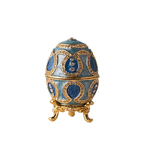 Limoges Romantic Limoges Box (Fine Pewter Boxes Jeweled Egg Trinket Small Box with Crystal Decor Jewelry Organizer Trinket Boxes Hinged)