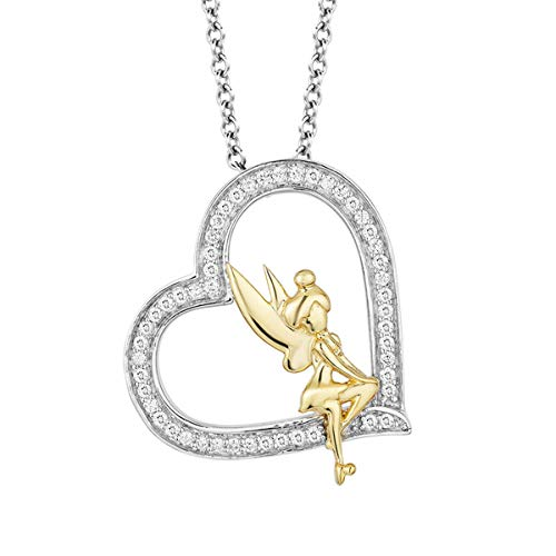 10k Two Tone Gold 0.25 Ct Round Cut Simulated Diamond Tinkerbell Heart Pendant With 18