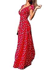 فستان طويل طويل ماكسي بياقة على شكل حرف V من Coolred للنساء فضفاض قصير الأكمام كاجوال ليوبارد