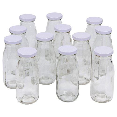 A Amp A Worldwide 12 Pack Vintage Glass Milk Bottles 8
