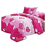 TOOGOO(R) Fashion New Colorful Pattern Bedding Sets Duvet Quilt Cover Pillowcases Bed Sheets Set Beds Cover No Comforter (Size:Single Double King)Rose red love 4 sets