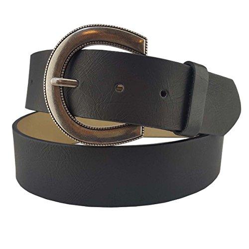 Vegan Plain Belt with Antique Round Buckle in Black LXL (Vegan Womens Belts)