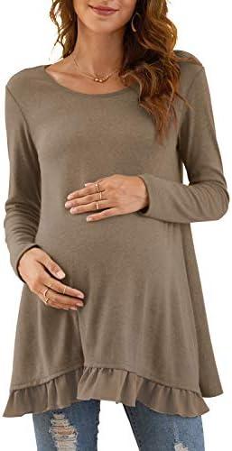Xpenyo Women's Casual Maternity Tunic Tops Long Sleeve Spliced Chiffon Tee Shirt