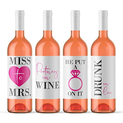 Bachelorette Party Wine Bottle Labels (Pack of 4) Funny Wine Labels Miss to Mrs. He Put A Ring On It Drunk In Love Bridal Shower Gift Favor Stickers Wine Bottle ()