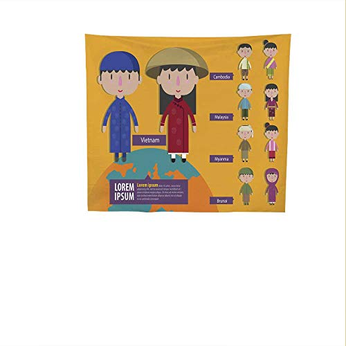 Sunset glow Simple Tapestry Asian.jpg boy.jpg and.jpg Girl.jpg in.jpg Traditional.jpg Costume.jpg .jpg Big Tapestry 55W x 55L Inch