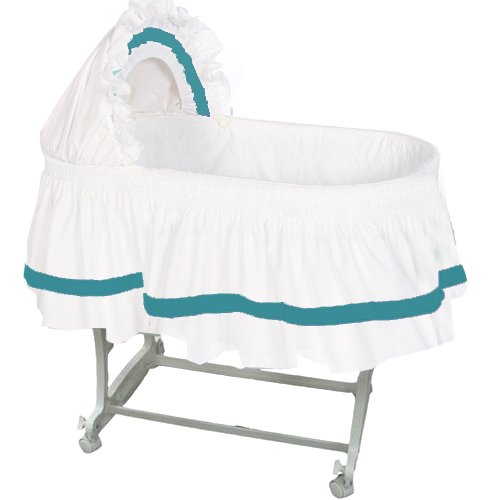 aBaby Modern Style Short Bassinet Skirt, Aqua, Small by Ababy