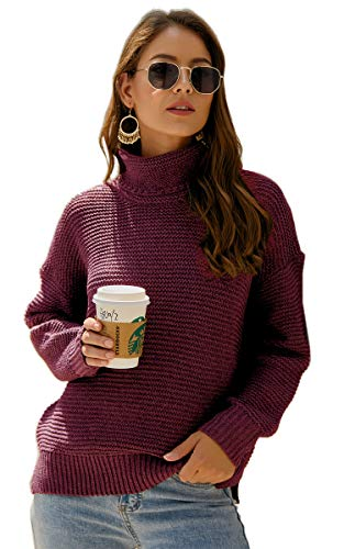 Angashion Women's Casual Long Sleeve Turtleneck Cable Knit Oversized Pullover Sweater Tops Wine Red S