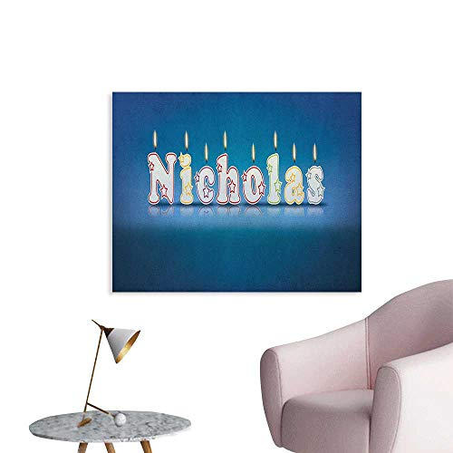 Anzhutwelve Nicholas Corridor/Indoor/Living Room Surprise Party for The Birthday Boy Child`s Name with Burning Candles The Office Poster Blue and Multicolor W36 -