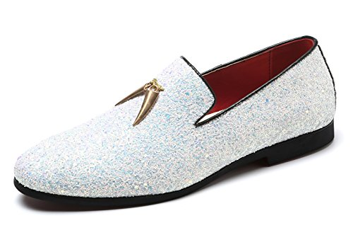 SANTIMON Mens Loafer Metallic Slip-on Glitter Fashion Smoking Slipper Moccasins Casual Dress Shoes White 9 D(M) US