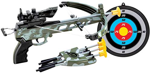 PowerTRC Deluxe Military Action Crossbow Toy with Target Kids Archery Bow with Scope and Arrow Toy Set Fun Game